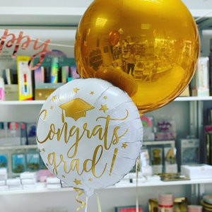 Stylish helium balloons in Bristol. Orb balloon. Balloons for graduatioin. Buy Congratulations balloons. Best party decorations Clifton