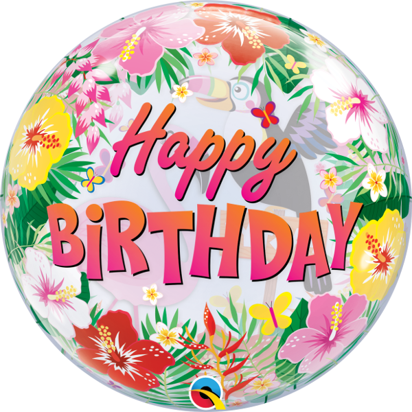 Buy Happy Birthday Tropical Bubble Balloon. Best party shop in Bristol. Clifton helium balloons