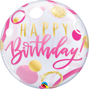 buy happy birthday helium balloon. Bubble balloon helium inflated in Bristol. Stylish balloon for birthday girl