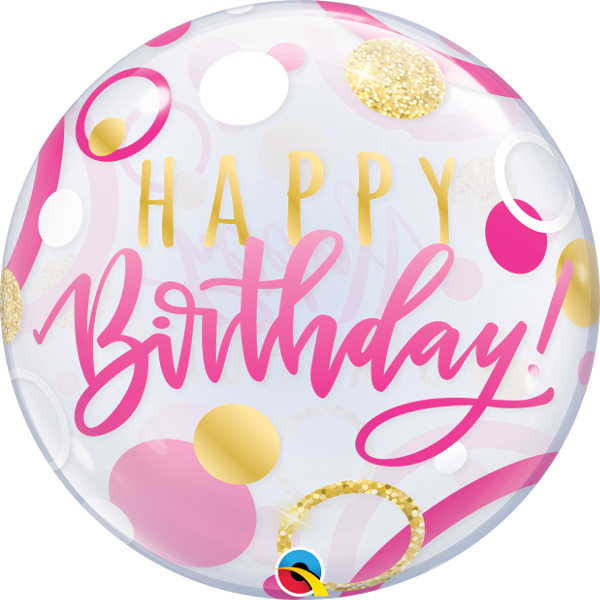buy happy birthday helium balloon. Bubble balloon helium inflated in Bristol. Stylish balloon for birthday girl