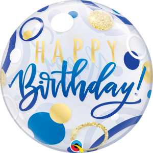 Buy Happy Birthday Blue Bubble Balloon. Best party shop in Bristol for helium balloons and party supplies