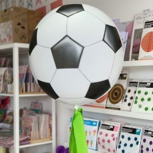 Football Party. Football Helium Balloon Personalised with name and age of birthday boy. Football theme party. Buy party decorations in Bristol. Balloon Shop Bristol