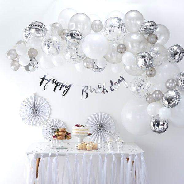 Buy silver balloon arch diy kit. Best Bristol party shop. Best helium balloons in Bristol