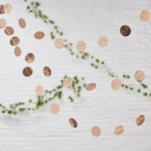 Rose Gold Circle Garland. Hanging decorations for weddings in bristol. Clifton