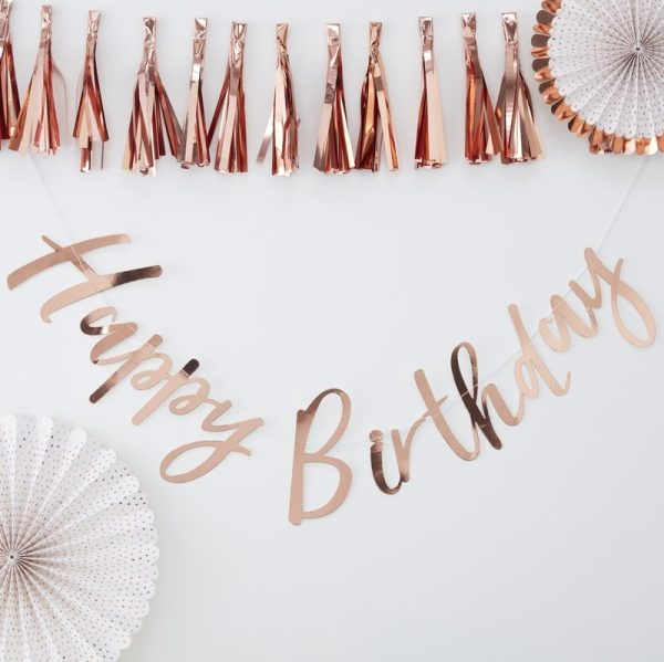 Rose Gold Happy Birthday Banner. Party shop in Bristol. Buy party supplies for birthdays