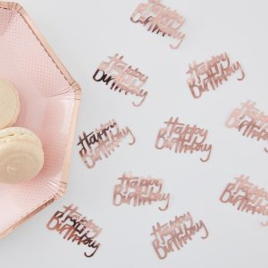 Happy Birthday Rose Gold Confetti. Party decorations for birthday party in Bristol Party Shop