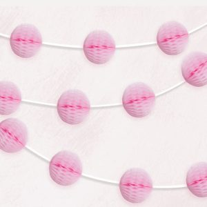 buy baby pink honeycomb garland decoration. Best party decorations in Bristol UK. Perfect for weddings, birthdays and baby showers.