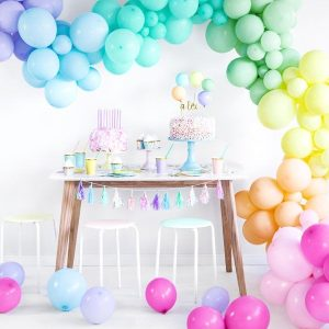pastel balloon garland kit, helium balloons, party decorations, unicorn party, wall banner, pastel colours, pastel theme, unicorn theme, banner.