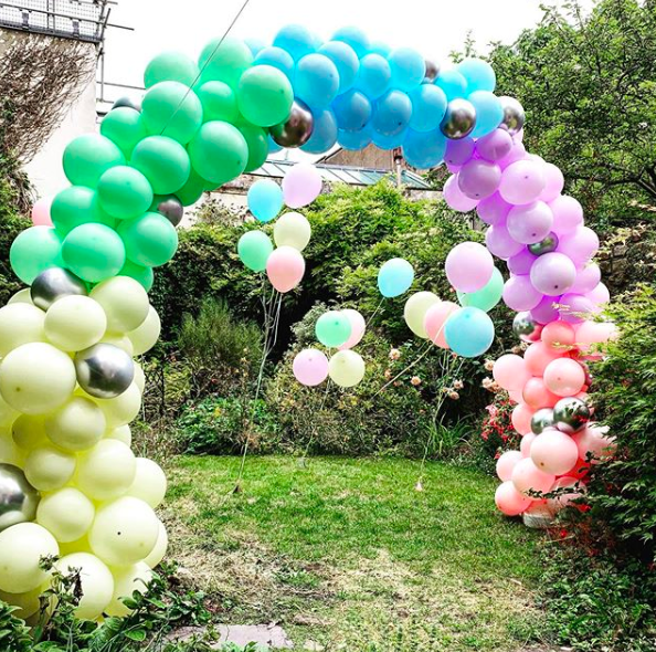 Pastel colours balloon arch Bristol.