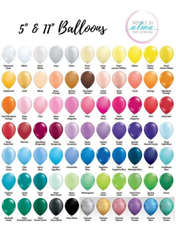 Balloon Colour List