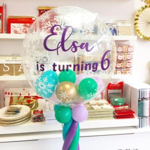 Customised Frozen Balloon Column air helium set up delivery birthday wedding event planner party decorations personalised text