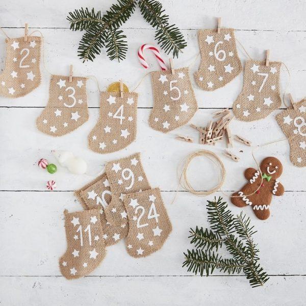 Hessian Socks Advent Calendar Christmas Helium Balloons Decorations New Year Birthday