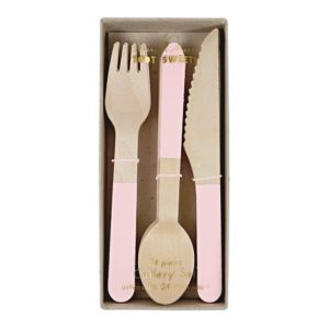 Pink Wooden Cutlery Set