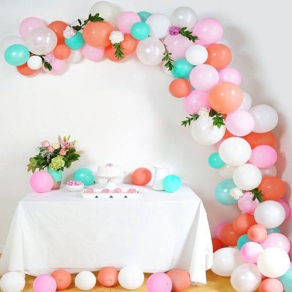 Birthday Balloon Arch Coral Mint