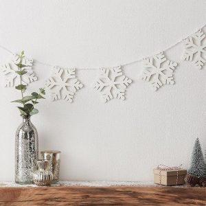 Wood Snowflake Garland