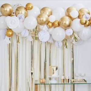 Gold and White Birthday Backdrop