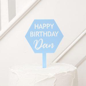 Hexagonal Happy Birthday Cake Topper
