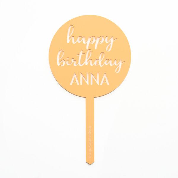 Happy Birthday Cake Topper Round