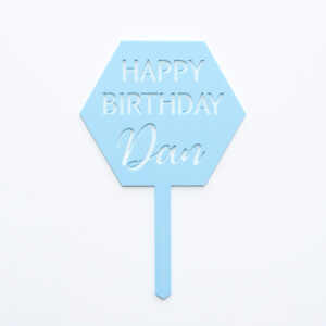 Hexagonal Happy Birthday Cake Topper
