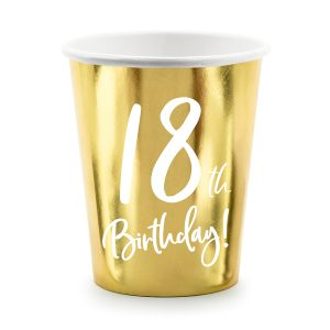18th Party Cups Gold