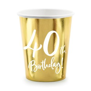 40th Party Cups Gold