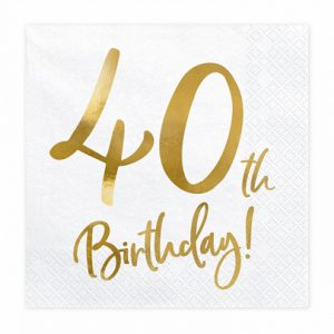 40th Party Napkins Gold