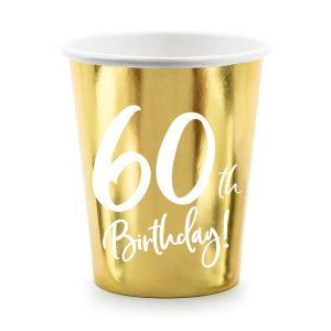 60th Party Cups Gold
