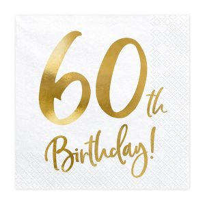 60th Party Napkins Gold