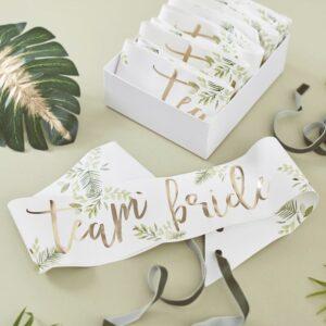 botanical team bride sashes