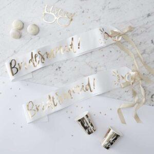 bridesmaid sash gold