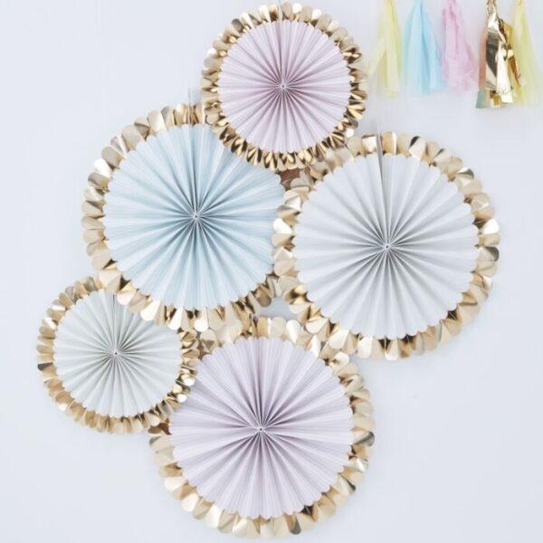 Pastel paper fan decoration gold foiled