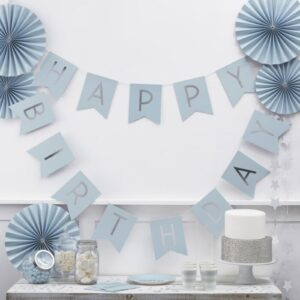 Blue Happy Birthday Bunting