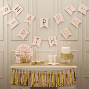 Pink Happy Birthday Bunting
