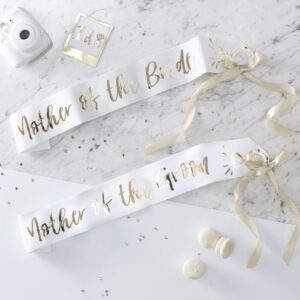 Mother of the bride and groom sashes in gold