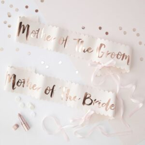 mother of the groom and bride rose gold sashes