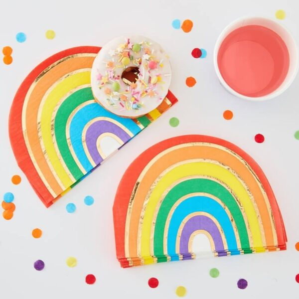 Rainbow Napkins Gold Foiled