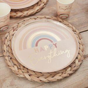Pastel Rainbow Plates Happy
