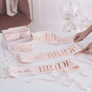 Team Bride Sashes Rose Gold